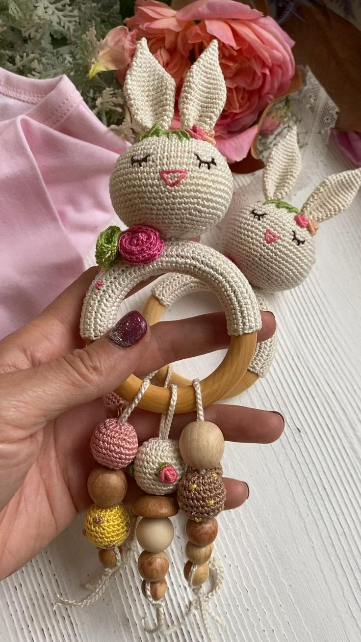 Bunny rattle in flowers easter bunny baby 6 month old toy
