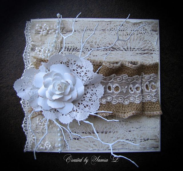 Paper Talk With Samra: Vintage Monochromatic Floral Card