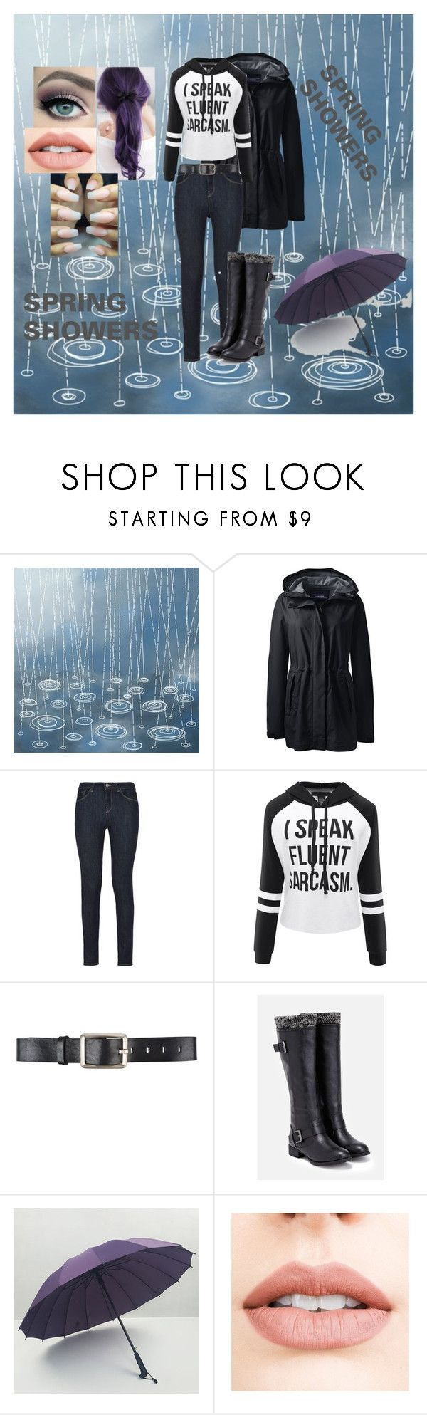 """""""Spring showers"""" by harleyquinn-1970 ❤ liked on Polyvore featuring Lands' End, Armani Jeans, Belstaff, JustFab and Jouer"""