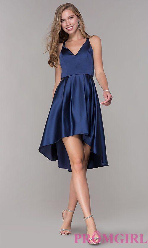 33ab19c79c3 Short High-Low V-Neck Blue Party Dress - PromGirl
