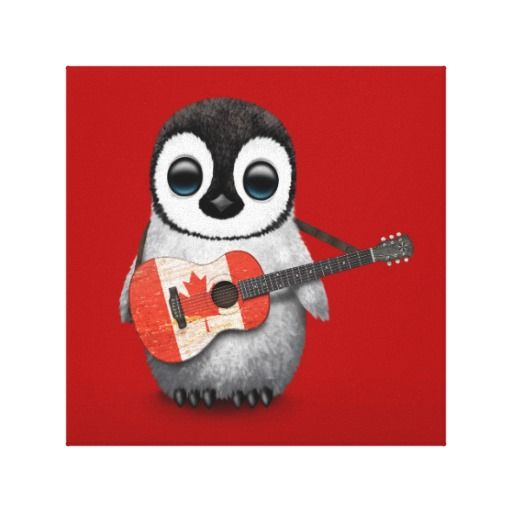 Baby Penguin Playing Canadian Flag Guitar Red Stretched Canvas Print