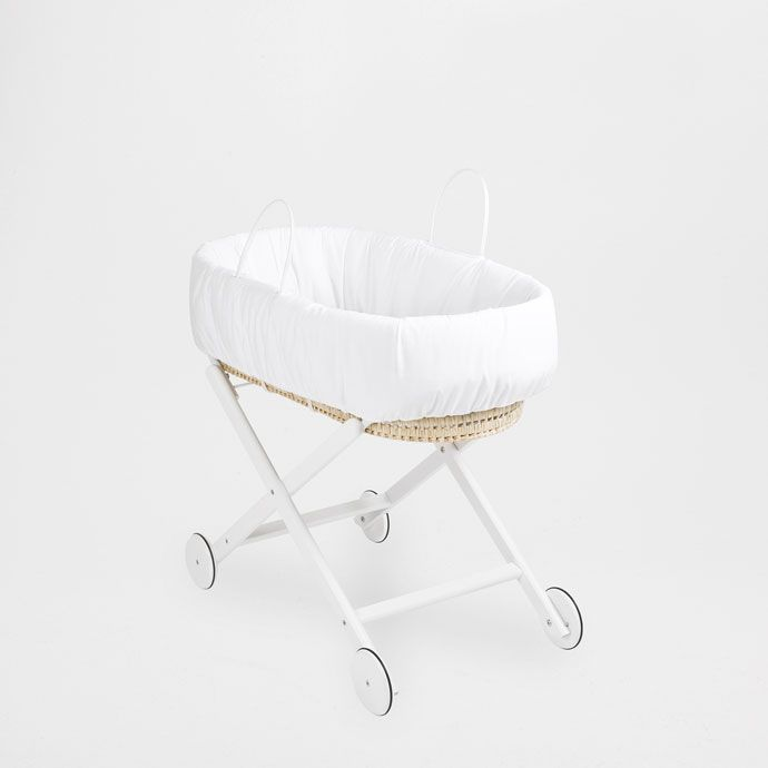 Moses basket with handles and a stand with wheels. Sold with polyurethane foam mattress covered in phthalate-free plastic. The mattress measures 78 x 36 x 3 cm/ 30 x 14 x 1 in. The wheels are for decoration only. The support cannot be folded. The basket can be removed.<br><br>WARNING:<br>- Do not let children play unattended near the Moses basket. <br>- Stop using the basket when the baby can sit up, kneel or stand up unassisted. <br>- All the parts must be properly fitted together and the…