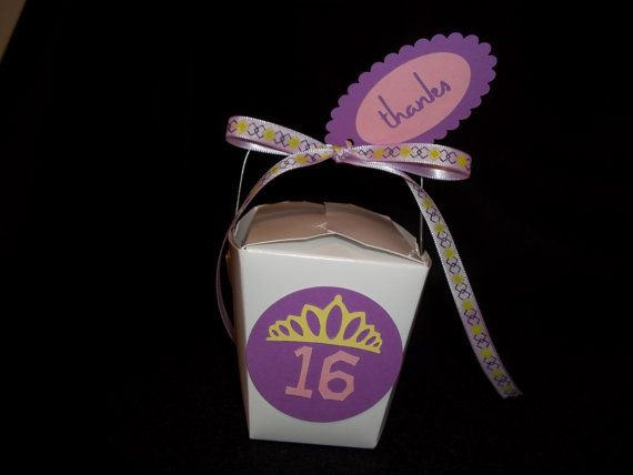 10 - Princess Tiara Chinese Take-Out Favor Boxes - Princess Party, Quinceanera or Sweet Sixteen Party Favor