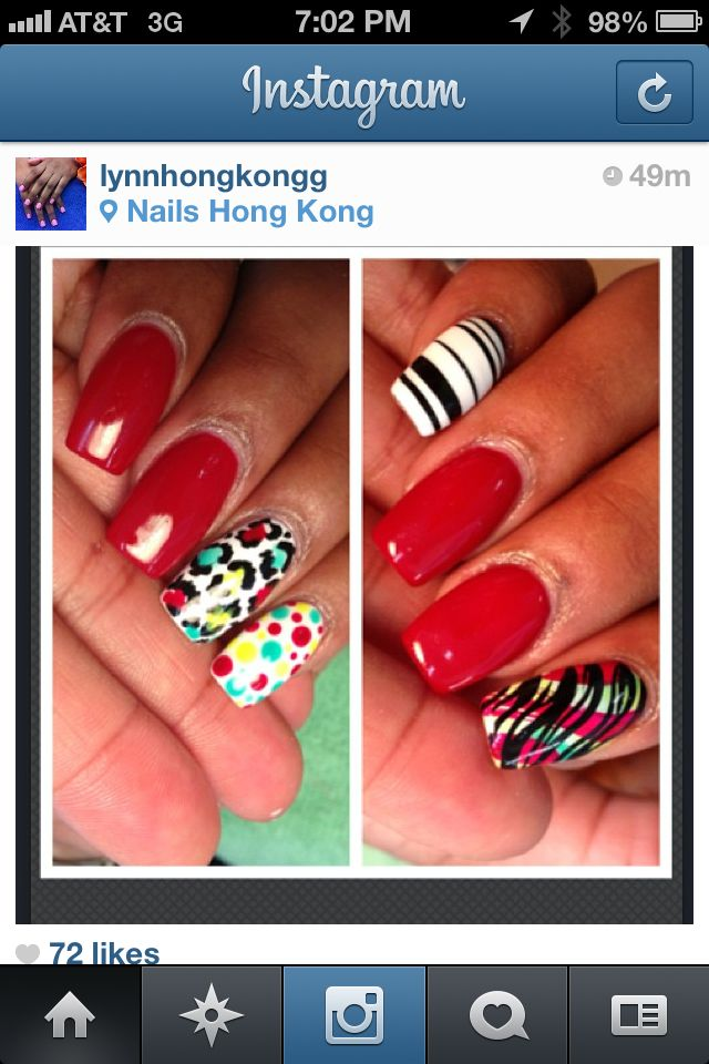 Red nails with color designs