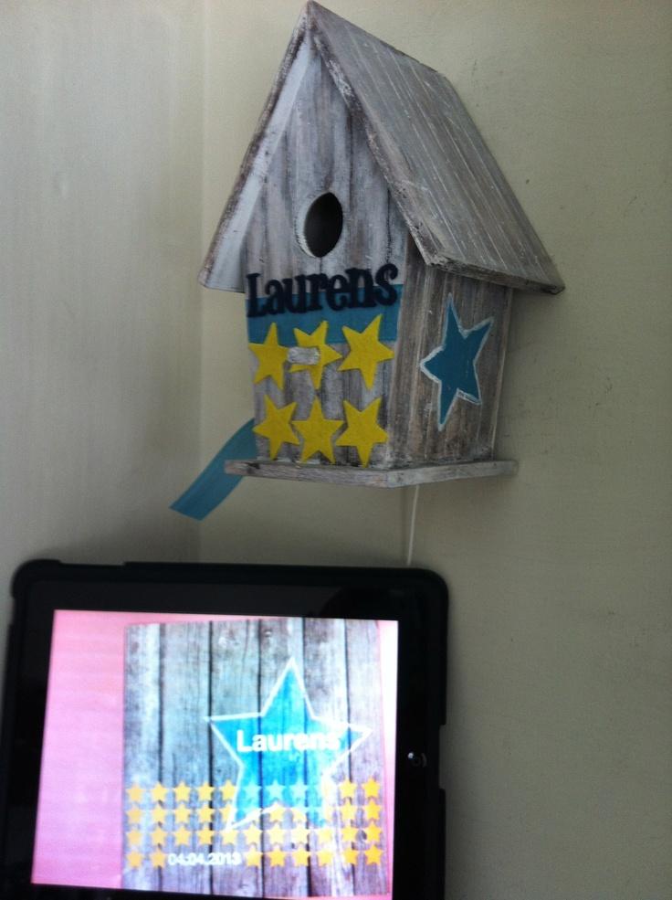 Geboortekaartje Laurens-vogelhuisje Laurens ( vogelhuisjes steigerhout )