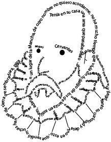 Este caligrama, realizado con Adobe Ilustrator, muestra la imagen del escritor Miguel de Cervantes. En su imagen se pueden leer las primeras frases de su célebre Quijote.