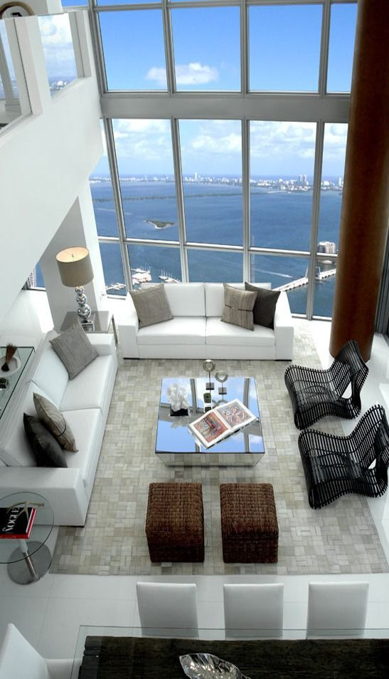 Floor to ceiling windows ... and lofted ceiling. LOVE the view.