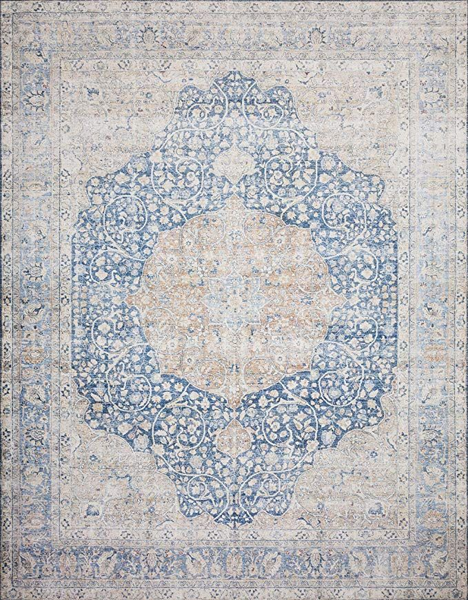 Amazon Com Loloi Ii Layllay 07bbtg7696 Layla Collection Area Rug 7 6 X 9 6 Blue Tangerin Kitchen Dining Rug Pattern Flat Weave Rugs