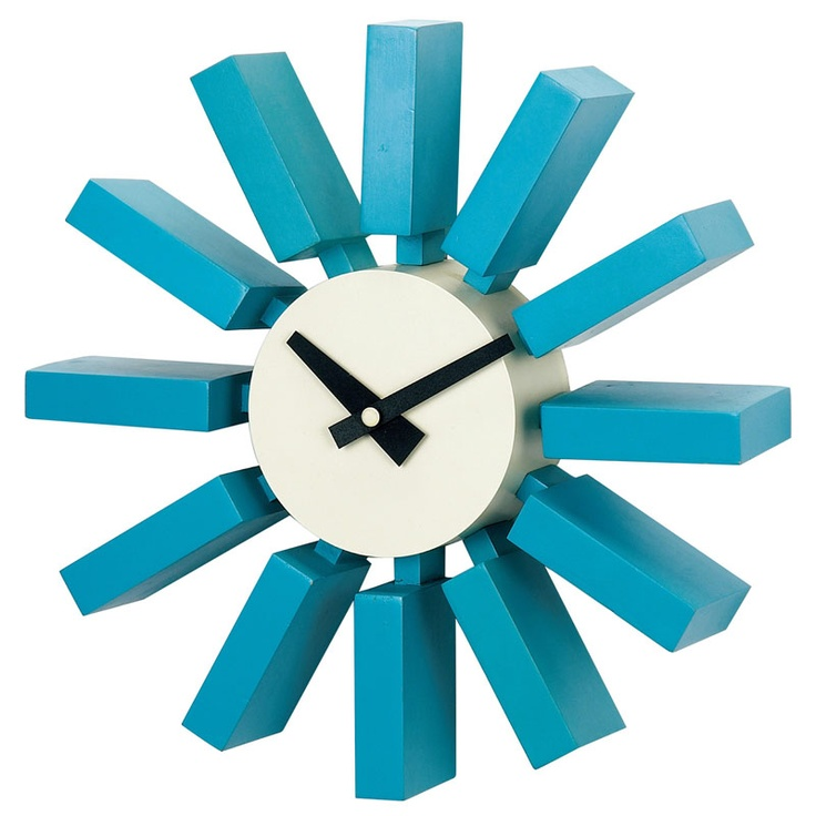 love this simple bright blue wall clock!