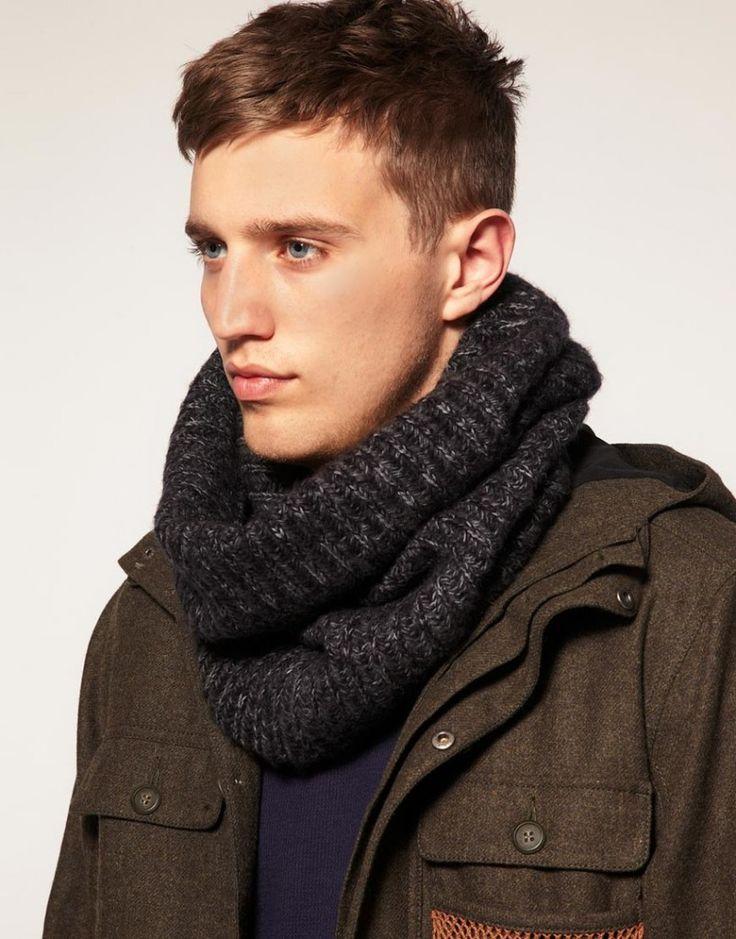 Вязаные мужские снуды. Вязаный спицами шарф снуд   3vision - Fashion blog