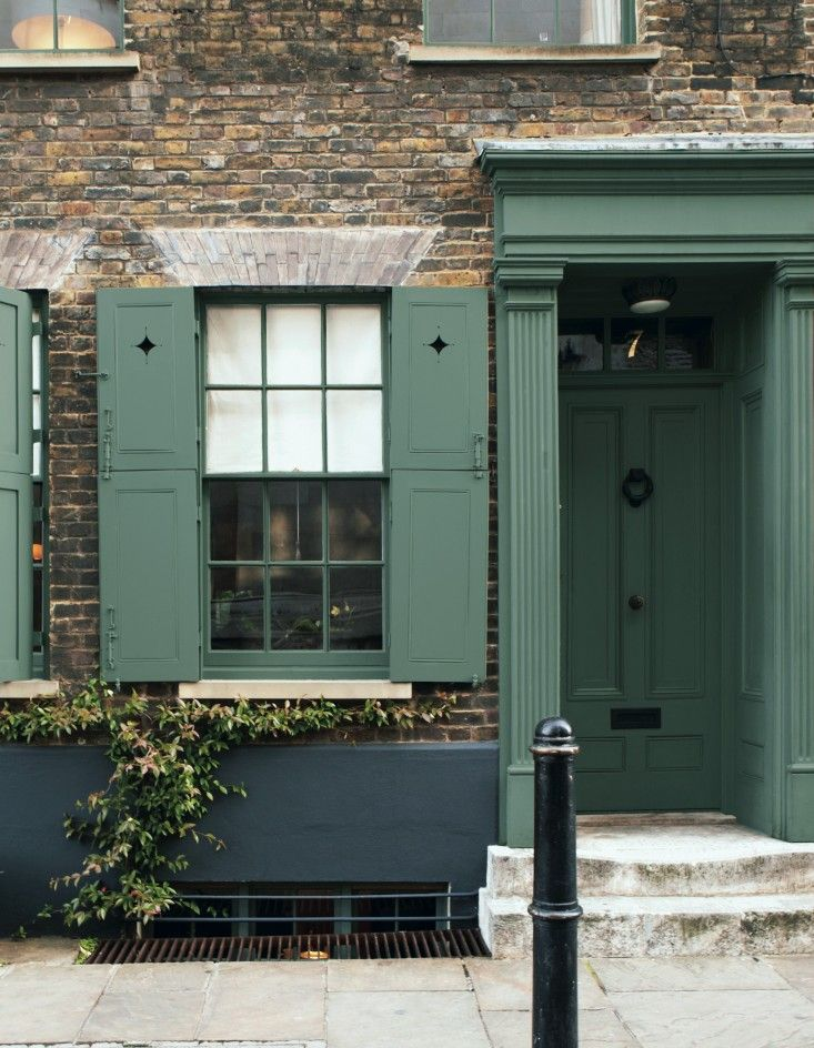 Farrow and Ball, Decorating with Color, Jon Nicolson, Spitalfields, Green Smoke on door and shutters | Remodelista