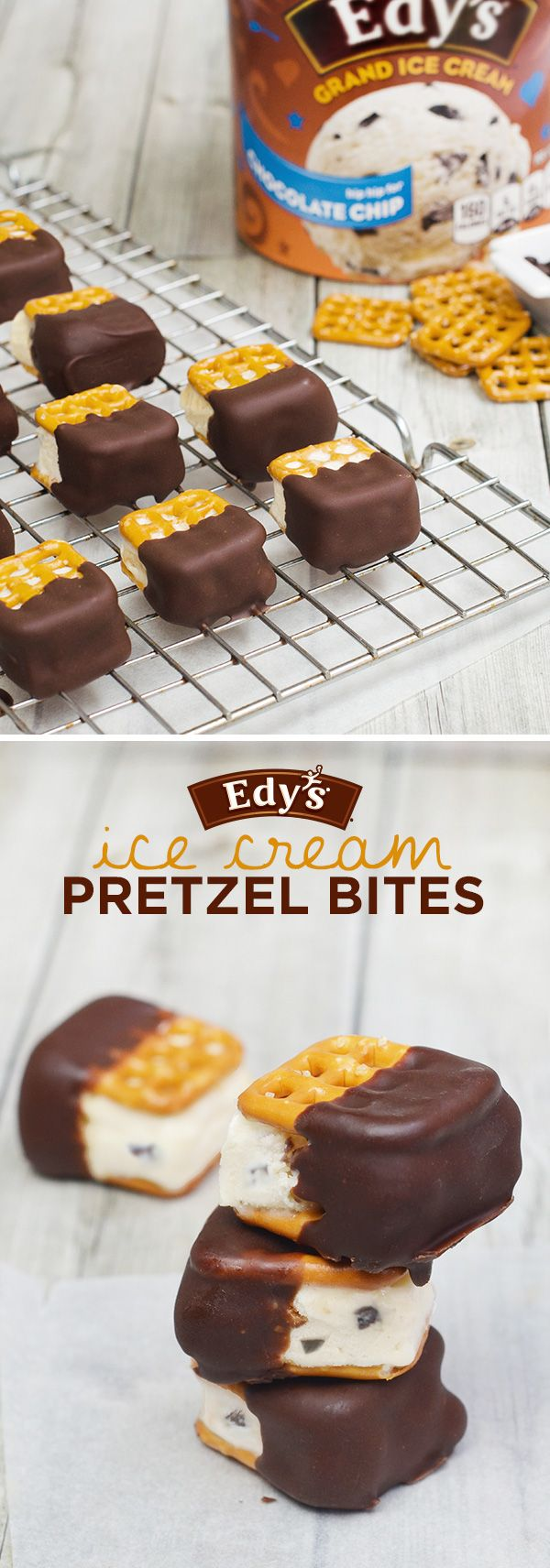 Edy's Ice Cream Pretzel Bites: A mini scoop of Edy's Grand Chocolate Chip Ice Cream looks so tasty between two bite-sized waffle pretzels. Jazz them up a bit by dipping each piece halfway into chocolate; then place them on a cookie rack and refreeze. Don't forget to share!