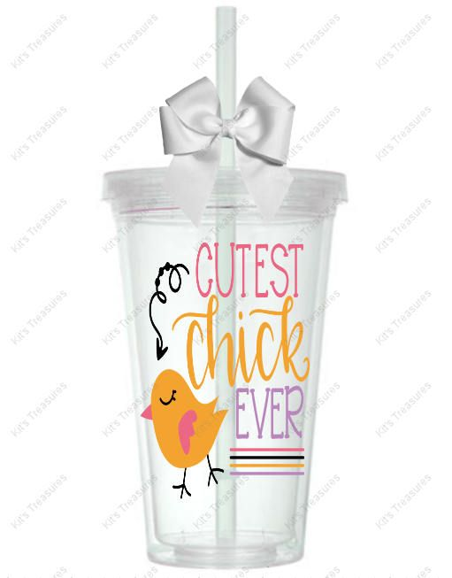 Cutest Chick Ever - Customized 16oz Tumbler - Easter Gift for her - Personalized gift for her - Personalized vinyl tumbler by DJsPersonalizedHut on Etsy