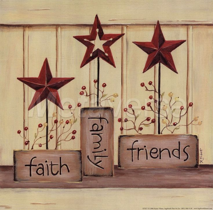 Faith Family Friends Country Star Decor Sign Art Framed Home Kitchen