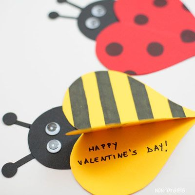 Use one template to create both these adorable Valentine heart cards: ladybug or bee. Perfect Valentine's Day cards to make for teachers.