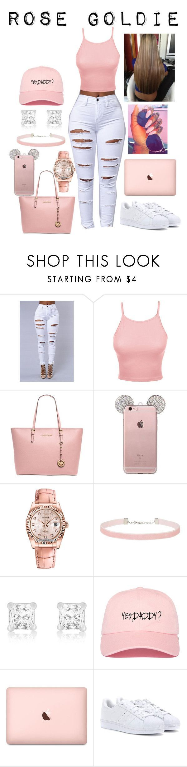 """Untitled #65"" by curlss-wavyy-sexy on Polyvore featuring LE3NO, MICHAEL Michael Kors, Rolex, Miss Selfridge and adidas http://www.canalflirt.com/love//?siteid=1713428"