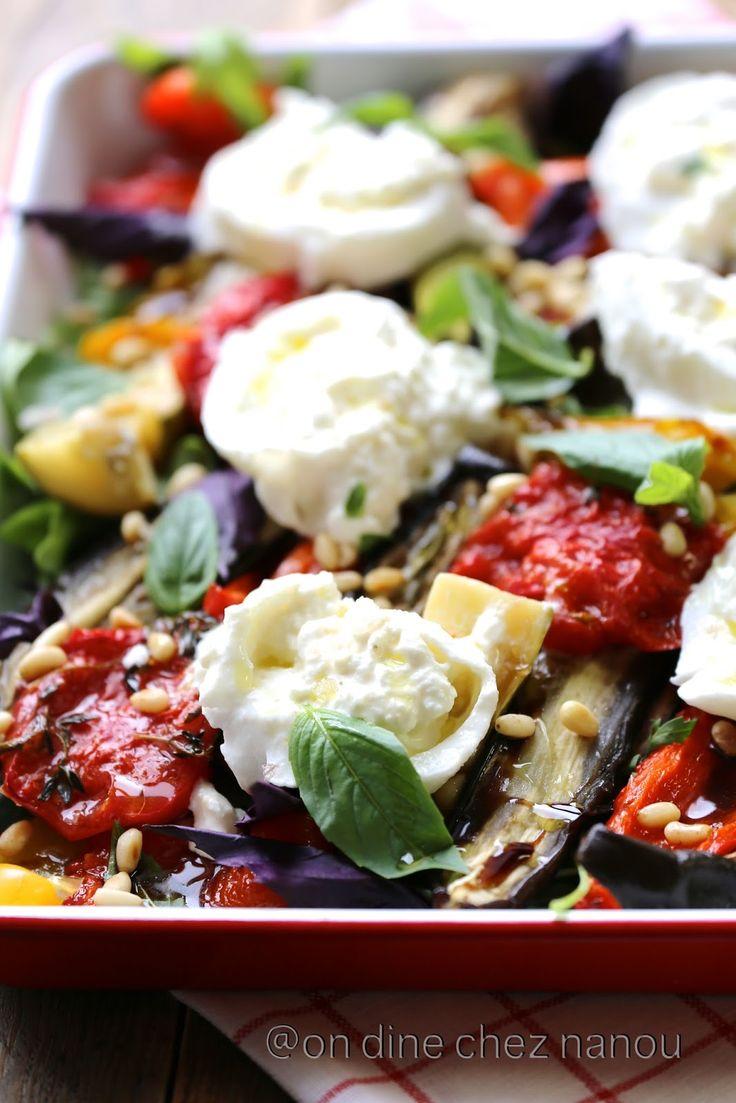 Légumes d'été au four à la burrata