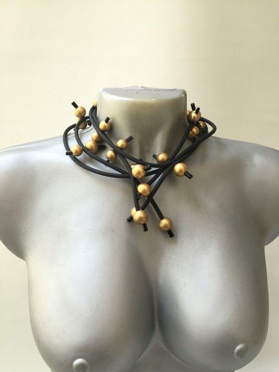 Collana girocollo nero gioielli moderni collana di vquadroitaly