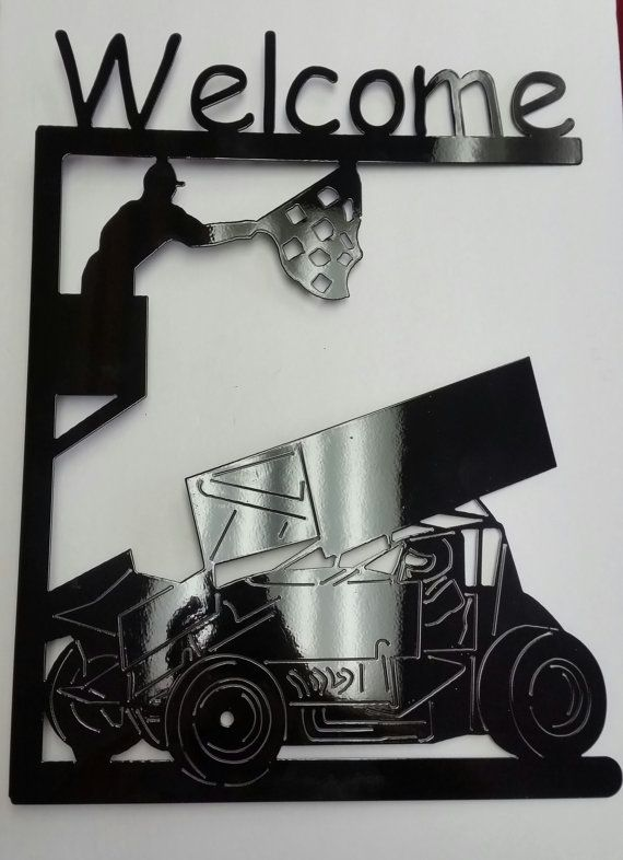 Metal Sprint Car Welcome Sign by TripleJSpecialties on Etsy