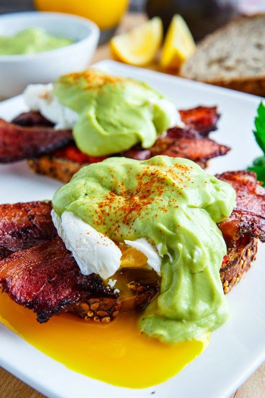 wow, this looks incredible - Eggs Benedict with Bacon, Avocado Hollandaise and Harissa #Recipe