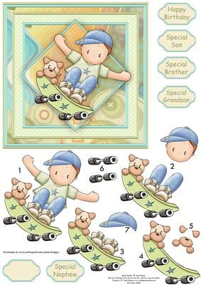 SKATEBOARD ANDY Card Topper Decoupage on Craftsuprint designed by Janet Briggs - Birthday boy card topper with 3d step by step decoupage.Features young boy on his skateboard, with his dog.Several sentiment tags, including one blank. The others read,Happy BirthdaySpecial Son, Brother, Grandson, or Nephew - Now available for download!
