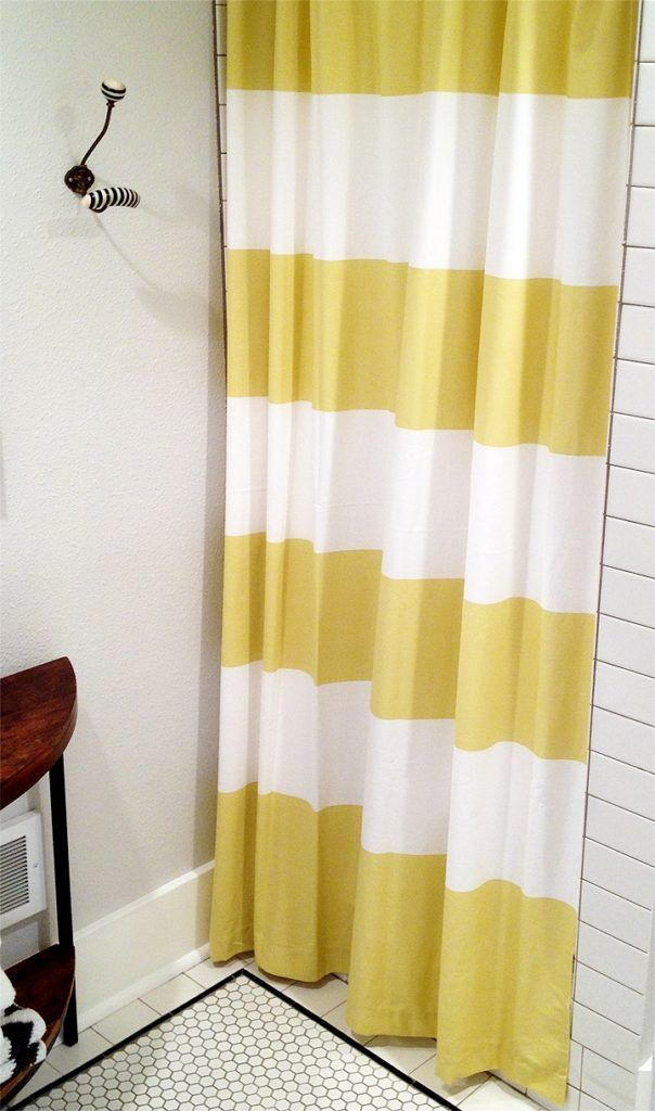 Yellow Striped Shower Curtain
