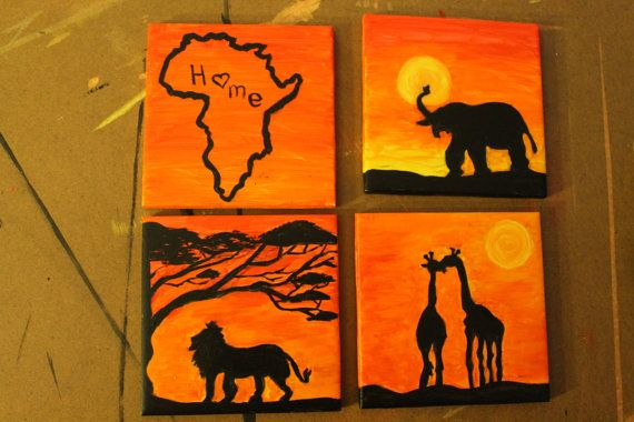 African safari themed coaster set of 4, hand painted. FOR SALE
