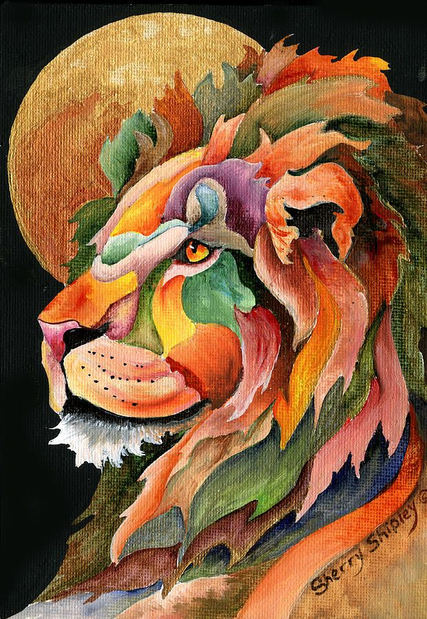 Autumn Lion Painting by Sherry Shipley - Autumn Lion Fine Art Prints and Posters for Sale
