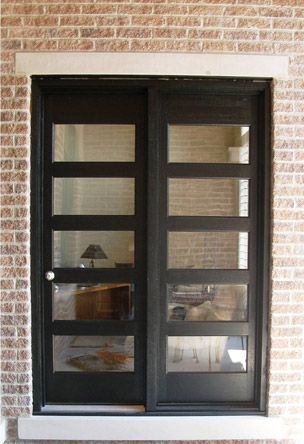 Solid mahogany french door with black stain knock knock for Black french doors exterior
