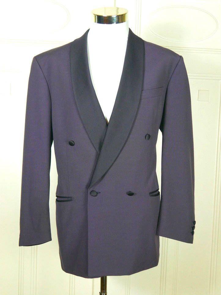 Vintage Tuxedo Jacket, Purple Double-Breasted Dinner Jacket w Black Satin Shawl Lapel, Purple Smoking Jacket, Tux Blazer: Size 38 (US, UK) by YouLookAmazing on Etsy