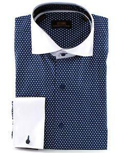 men's dress shirt white with blue polka dot   ... Men's Polka Dot 100 Cotton French Cuff Dress Shirt DS1076 Blue   eBay