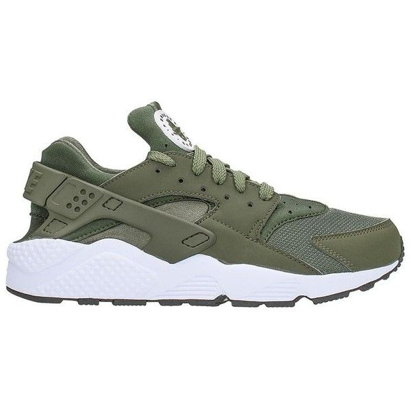 Huarache Run Green Fabric Sneaker ($110) ❤ liked on Polyvore featuring men's fashion, men's shoes, men's sneakers, green, mens rubber sole shoes, mens green shoes, nike mens sneakers and nike mens shoes