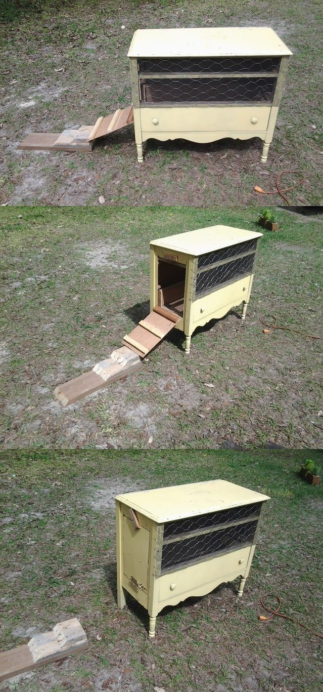 Chicken coop repurposed from an old dresser found on the curb. Remove drawers, moderate saw work, scrap porch screen, chicken wire, a few nails / staples, wood glue, etc. Approximately $20 - $25 in materials.Repurpose Chicken Coop, Chicken Coops, Cheap Chicken, Chicken Wire, Chicken Coop Dresser, Chicken Hutch, Chicken Coop Cheap, Coops Repurposing, Repurposed Chicken Coop