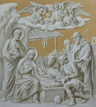 Рождество Христово, роспись подкупольного пространства, иконописец Дмитрий Хомяков