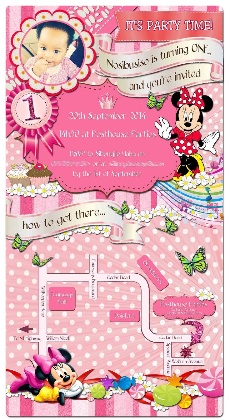 First birthday Minnie Mouse e-invite