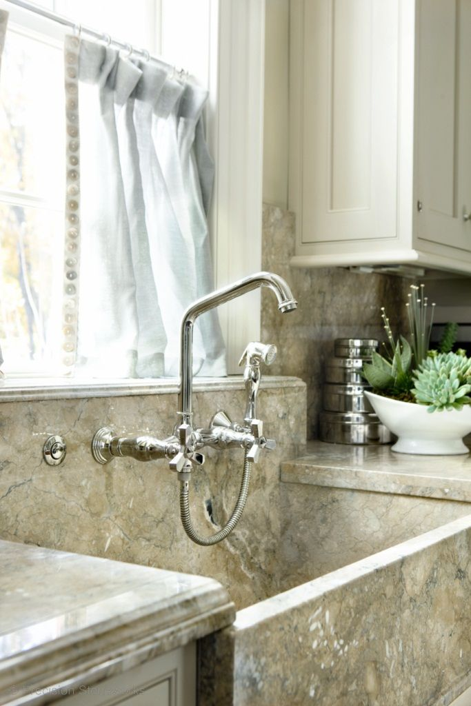 Wall mount faucet with side spray. Deep apron sink. Perfection!