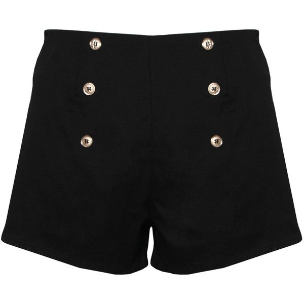 Paprika Military Button Zip Back Shorts ❤ liked on Polyvore