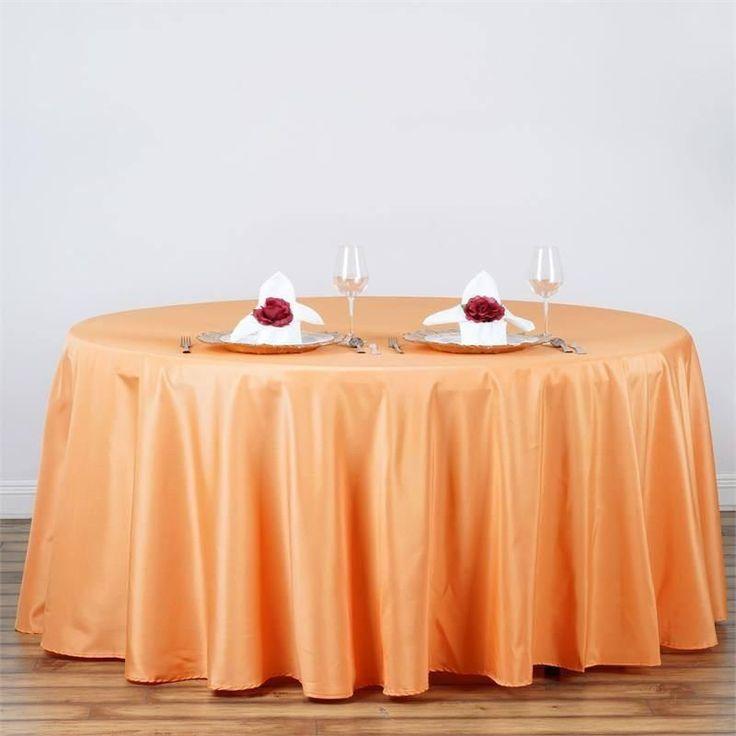 "120"" ORANGE Wholesale Polyester Round Tablecloth For Wedding Banquet Restaurant"