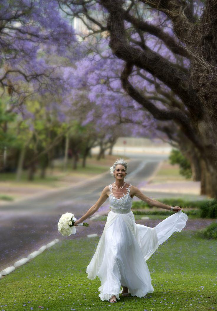 Bride with Jacaranda trees, Pretoria.
