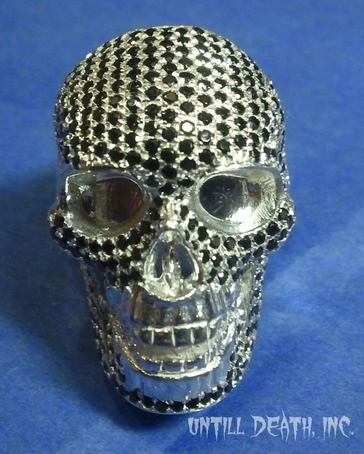 realistic skull black diamand pave 925 sterling silver mens ring skull ring handmade jewelry