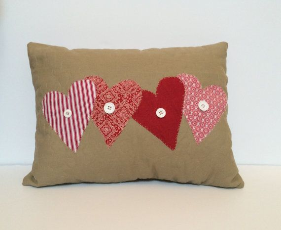 Valentine s pillow, Heart pillow, decorative pillow, quilted pillow