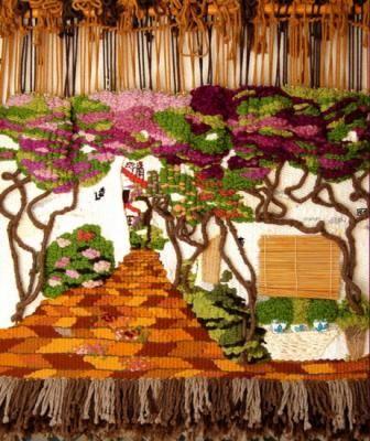 la cuesta de las buganvillas tapiz lanas teñidas manualmente,maderas,cerámicas alto lizo