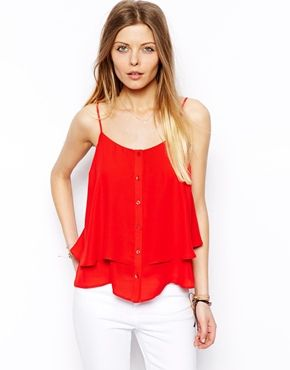 Image 1 of ASOS Button Through Double Layer Cami Top