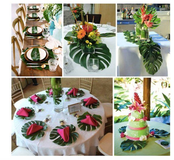 48 Tropical Leaves Table Decorations Jungle Theme Party Decor Etsy Hawaiian Party Decorations Luau Wedding Luau Party Decorations