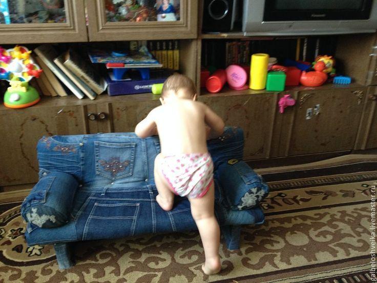 Купить Детский диванчик - синий, детская мебель, мебель для кукол, диван, диванчик, джинсовый стиль
