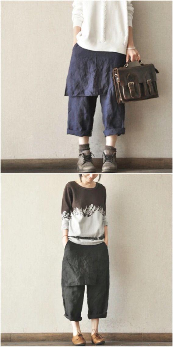Purple and black cotton linen pants