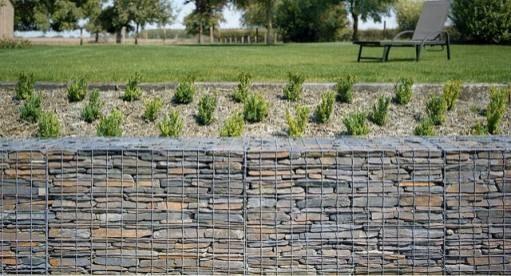 Slate filled retaining gabion wall by Gabion1