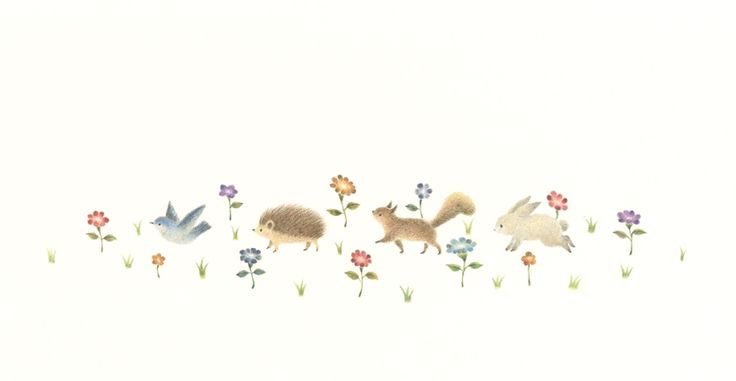 """Let's Go on a Walk Together"" −RiLi, picture book, illustration, design ___ ""みんなでお散歩"" −リリ, 絵本, イラスト, デザイン ...... #Illustration #Walk #Together #Flower #イラスト #散歩 #みんな #花"