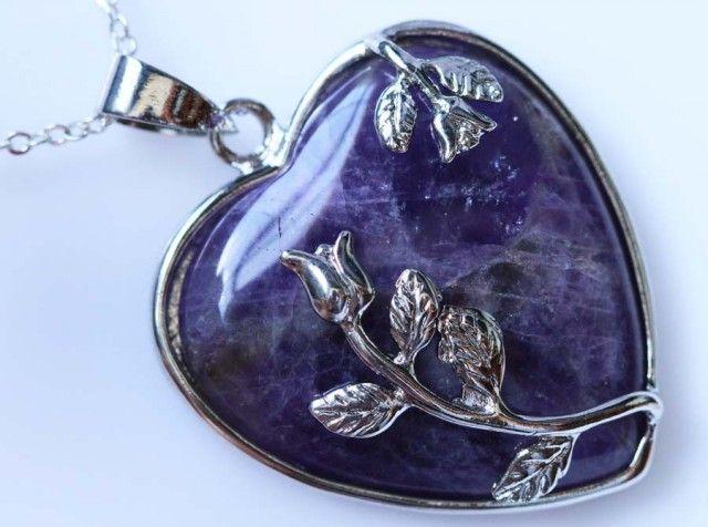 Heart shape Amethyst Pendant BU1219 heart shape gemstone pendant, pendant amethyst