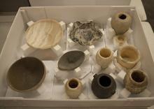 Stone Vessel storage. Photo Credit Line: Elizabeth Minor; Image Courtesy of Hearst Museum of Anthropology.